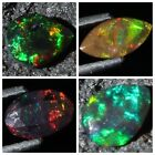 Top Quality ! Natural Ethiopian Welo Fire Black Opal Faceted Cut Stone Gemstone