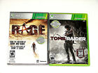 Lot of 2 XBOX 360 Games  Rage & Tomb Raider *** NICE *** Free Shipping