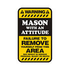Mason Warning Yellow Decal Brick Stone Masonry Hard Hat Gloss Sticker HVG