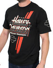 Harley-Davidson Mens Racing Stripe B&S Black Short Sleeve Biker T-Shirt $9.99 USD