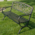 "50""-inch Outdoor Bench Patio Backyard Metal Garden Furniture Seat Bronze/black"