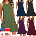 Women's Summer Casual Swing Sundress Sleeveless Pocket Loose Tunic T-Shirt Dress