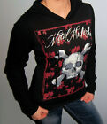 New METAL MULISHA Maidens SKULL Hooded SWEATER SLEEVE Sweatshirt HOODIE Small