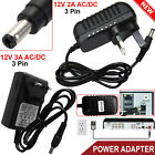 12V 2A/3A AC/DC 3 Pin Mains UK Power Supply Adapter For Security CCTV DVR Camera