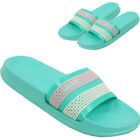 LADIES SLIP ON SLIDERS FLAT MULES SUMMER SPORTS BEACH SANDALS FLIP FLOPS SHOES