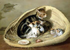 Mother Cat with her Kittens in a Basket ~ Counted Cross Stitch Pattern