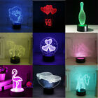 3D 7 Color Changing LED Night Light Desk Table Lamp Remote Control USB Decor