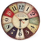 Wooden Home Wall Clock Creative Round Colorful Vintage Rustic Decorative Antique