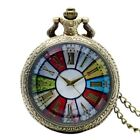 Vintage Women Men Fob Pocket Watch Quartz Necklace Pendant Hollow Watches Gifts image
