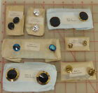 96 vintage Czech glass shank buttons Gold Black Blue AB silver pressed