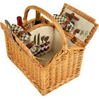 Picnic at Ascot Vineyard Willow Picnic Basket with Outdoor Accessorie NEW