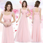 Ever-pretty UK Long Cap Sleeve Wedding Dresses Backless Pink Evening Gown 08834