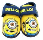 "Boys Kids Despicable Me Minions ""Bello!"" Velcro Slippers Size 6-12"