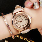 Women Girl Student Leather Strap Quartz Watch Crystal Wristwatch Bracelet Gifts image