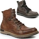 GBX Mens Draft Boots Genuine Leather Moc Toe Ankle High Lace Up Casual Shoes New