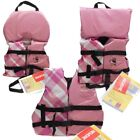 Kids Girls Life Jacket Boat Swimming Swim Vest PFD Pink Plaid Infant Child Youth