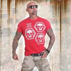 Neues Yakuza Herren Skull Collection T-Shirt - Ribbon Red