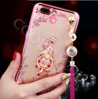 Flower Diamond Finger Ring Grip Holder Stander +Tassels Back Phone Case Cover