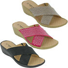 Cushion Walk Summer Wedge Sandals Womens Cross Strap Lightweight Diamante UK 3-8