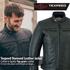 Leather Motorbike Motorcycle Jacket With Armour Diamond Stitched Biker CE