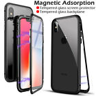For iPhone X XS Max XR 6 7 Magnetic Adsorption Metal Bumper Case Tempered Glass