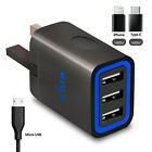 Super Fast Multi 2-3 Port Wall Power Charger UK Plug + Type-C & iPhone adapters