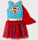 Girls Supergirl Dress TuTu Costume Cosplay With Cape Girls XL 14-16 NWT Blue Red