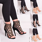 Ladies Womens High Heels Strappy Party Lace Up Stud Fashion Party Shoes Size 3-8