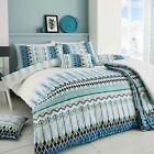 Tribal Luxury Duvet Covers Geometric Printed Bedding Collections Teal Blue