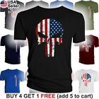 The Punisher American Flag T-Shirt Military Skull US Army USA Pride Distressed image