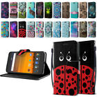 For ZTE Blade Force N9517 ID Card Leather Flip Wallet Cover Pouch Case Kickstand