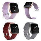 Woven Fabric Wrist Strap Watch Band Stainless Steel Buckle For Fitbit Versa