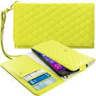 Yellow Designer Luxury Wallet Flip Case Pouch Holder With Strap For Phones
