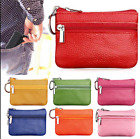 Women Men Leather Coin Purse Card Wallet Clutch Double Zipper Small Change Bag