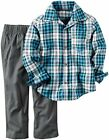 Carters Baby Boy NWT 2 Pc Set 3 Month Blue Plaid Shirt And Gray Pants