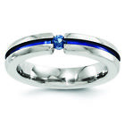 Edward Mirell Titanium Sapphire & Blue Anodized Grooved 4mm Band EMR157