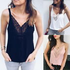 Summer Women Sleeveless Vest V-neck  Camisole Tops Casual Lace Floral Blouse