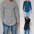 US Hot Fashion Mens Slim Fit V Neck Basic Tee Long Sleeve Casual Fitness T-shirt