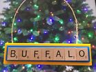 Buffalo Sabres Christmas Ornament Scrabble Tiles Rear View Mirror Magnet $8.99 USD on eBay