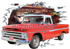 1966 Red Chevy Pickup Truck b Custom Hot Rod Diner T-Shirt 66 Muscle Car Tees