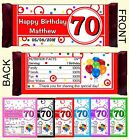 70th BIRTHDAY PARTY FAVORS CANDY BAR WRAPPERS