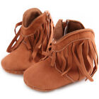 Baby Girls Cowboy Tassels Boots Anti-Slip Solid Color Zipper Cotton Cloth Shoes