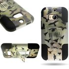 For HTC One (M8) - Dual Layer Hybrid Protector Phone Cover Case with Kickstand