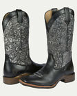 Noble N66025-017 Women Charcoal Floral Around Square Toe Boot FAST FREE USA SHIP
