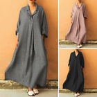 ZANZEA Women Long Sleeve Cross V Neck Long Maxi Dress Full Length Shirt Dress