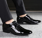 Men British Formal Dress Pointy Toe Business Oxford Lace Up Patent Leather Shoes