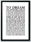 The Impossible Dream - Andy Williams Song Lyrics Typography Print Poster Artwork