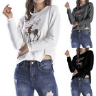 Womens Long Sleeve Xams Hoodie Reindeer Printed Casual Sweatshirt Pullover Tops