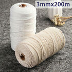 3mm 200m Natural Beige Cotton Twisted Cord Rope Craft Macrame Artisan Strings US