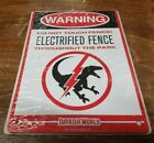 Jurassic World Isla Warning Electrified Fence Raptor Metal Sign Loot Crate NEW